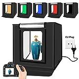 YOTTO Studio fotografico tenda 40x40x40 cm Portatile Tenda Studio Luminosa per Fotografia Pieghevole 2X 32 Luce LED Scatola Mini Photo Studio Kit Con Sfondo a 6 Colori