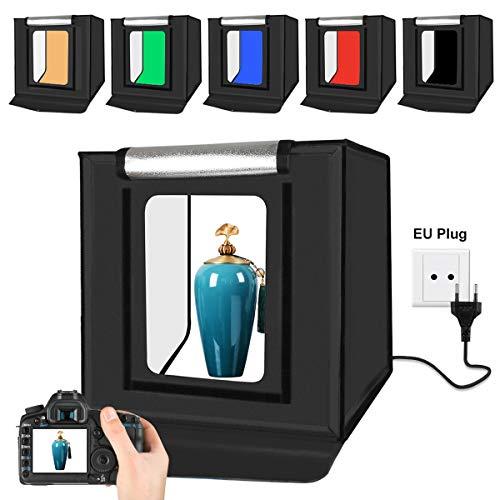 YOTTO Fotozelt Lichtzelt 40x40x40 cm Fotostudio Fotobox Tragbare Faltbare Lichtwürfel mit 6 Farben Hintergrund Backdrops für Fotografie Leuchtkasten 2X 32 Dimmbare LED Beleuchtung