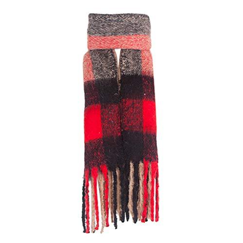 TIFIY Damen Schal Mode Frauen Klassische Quaste Plaid Schal Warme Schleife Kragen Wrap Schal Schals Weich Warm Bequem Basic Schal Khaki