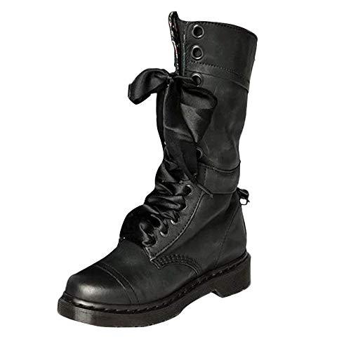 SUCES Frauen Retro Stiefel Damen Rutschfeste Boots Mode PU Leder Schnüren Stiefeletten Mädchen...