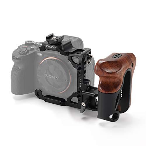(Black) TILTA TA-T18-A-B Half Camera Cage + Wooden Handle para Sony Alpha...