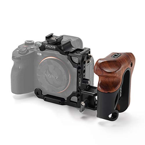 (Black) TILTA TA-T18-A-B Half Camera Cage + Wooden Handle para Sony Alpha 7S III / A7S III / A7S3 Cámara Jaula Tiltaing Lightweight Kit A