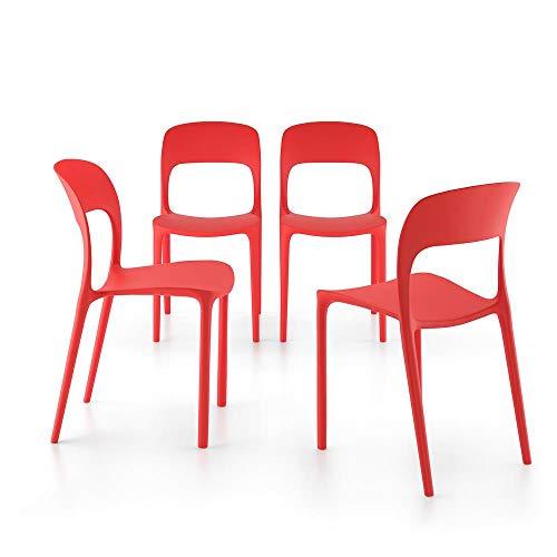 Mobili Fiver, Set 4 Sedie da Pranzo Amanda, Rosso, 42 x 55 x 83,5 cm, Polipropilene, Made in Italy, Disponibile in Vari Colori