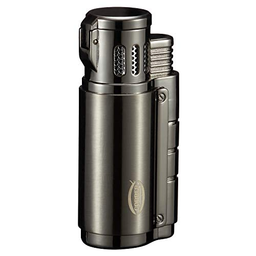 Cobber Torch Cigar Lighter, Triple 3 Jet Flame Refillable Butane Cigar Lighter with Cigar Punch