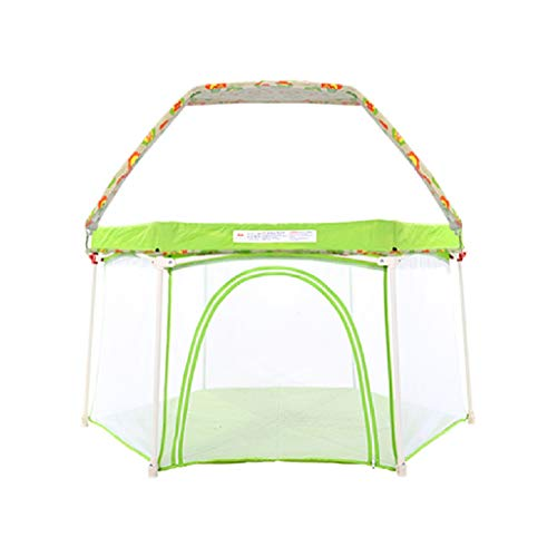 ERA Baby Playpen - Kids Safety Playpen with Self-Inflatable Mattress, Foldable Best Kids Play Pen with Top, Anti-Mosquito, Traveling, Beach (Color : Green)