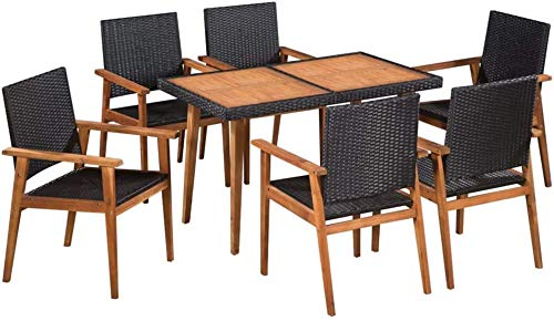 Poly Rattan Outdoor Garden Chairs 6 Seater dinette Table and a Chair 6,Black