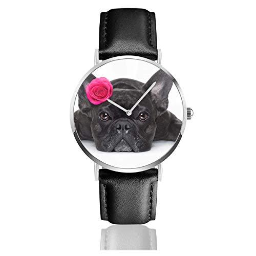 Bulldog francés Perro Valentines Rose On Animals Wildlife Animal Holidays Reloj de Cuarzo Correa de Cuero de Acero Inoxidable Relojes