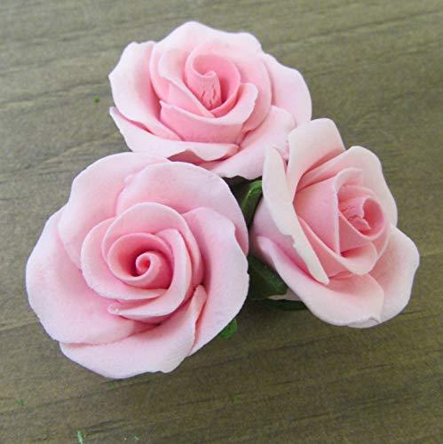 Set of 12 Gumpaste Sugar Flower Roses - Cake or Cupcake toppers (Pink) by Sugar Deco