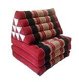 Collumino®, materasso da meditazione tradizionale thailandese Kapok a 3 strati, con cuscino reclinabile triangolare in stile orientale, per yoga, massaggi o relax nero, rosso.