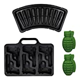 Vonty Silicone Ice Cube Molds & Trays DIY Whiskey Ice Cube Gun + Bullet + Grenade Shape Mold Chocolate, Cake, Soap Maker for Military Fans (4pcs)
