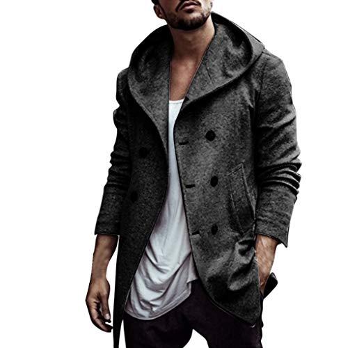 Pandaie Mens Jackets Men's Autumn Winter Jacket Parka Hooded Wool Coat Comfortable Hoodie Sweatshirt Outdoor Outwear Overcoat Black