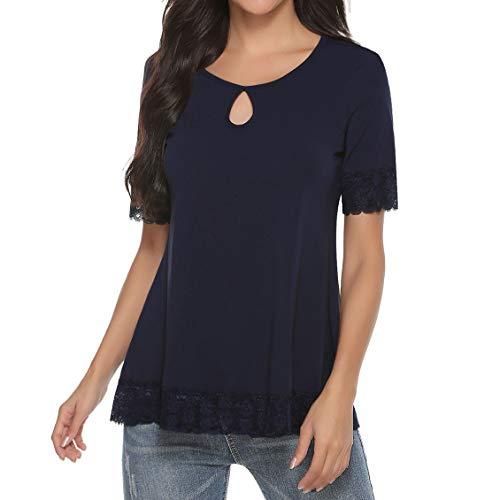Akalnny Camiseta de Manga Corta Casual Talla Grande para Mujer Cuello Redondo Flare Blusa Suelto Verano Algodón T-Shirt Tops de Encajes (Azul Marino, XL)