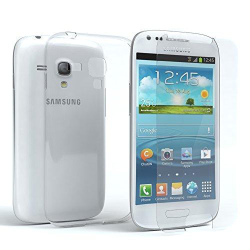 EAZY CASE Silikonhülle & Panzerglas im Set für Samsung Galaxy S3 Mini I Displayschutzglas, Panzerglas nur 0,3 mm 9H Härte, Schutzhülle Ultra dünn, Silikon Hülle, Backcover, Transparent/Kristallklar