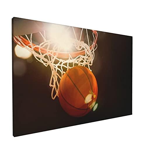 Arte de pared,Baloncesto atravesando la canasta en un estad,pinturas al óleo enmarcadas impresas en lienzo Obra de arte moderna para sala de estar dormitorio decoración de pared de oficina