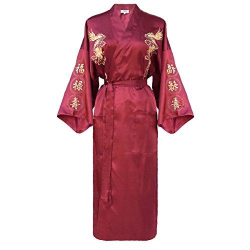 Damen Morgenmantel chinesischer japanisher Kimono burgund M
