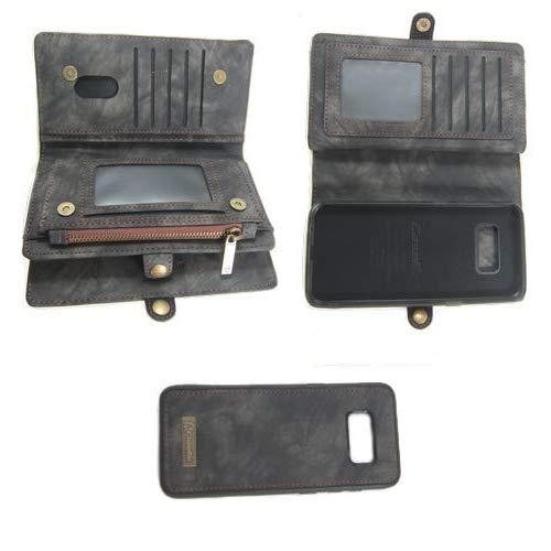 Flip Case Handy-Hülle passend für Samsung Galaxy S8 Plus - Wallet Book Spalt-Leder - Handy-Tasche Schutz-Hülle, Farbe:Schwarz
