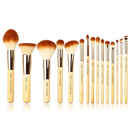 Jessup, pennelli da trucco con manico in bambù, 15 pezzi, per l'applicazione di crema idratante, fondotinta, correttore, fard, set cosmetico di bellezza, setole lavorate a mano, T140