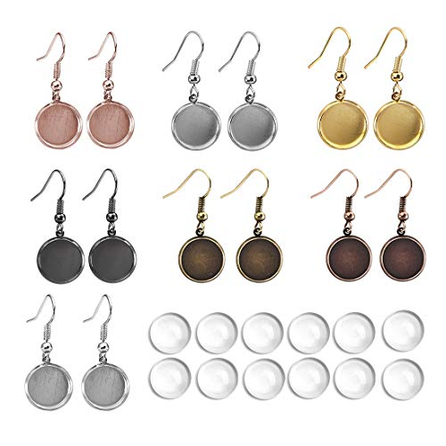 6 Colors 12mm Earring Wire Hooks Cabochon Settings Cabochon Earring Blanks Settings for Jewelry Making 36 Pieces Glass Cabochons Earrings with 36 Pieces Earring Wire Hooks