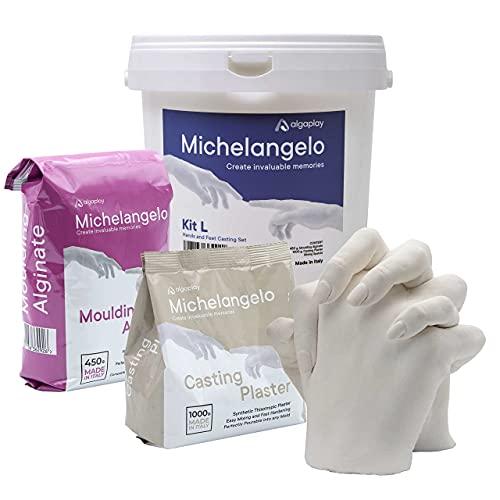 Michelangelo Kit L 2 Manos, para Crear una Escultura de Manos de Adultos o de niños con Familiares o Amigos. Incluye Jarra medidora de 1 litro y espátula de plástico para Mezclar. (Kit L 2 Manos)