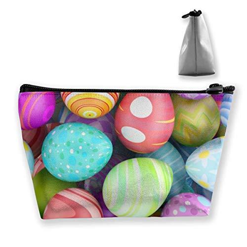 Beau sac de maquillage en forme d'œufs de Pâques - Sac de voyage trapézoïdal avec fermeture éclair - Sac de rangement portable et léger - Pour filles et femmes