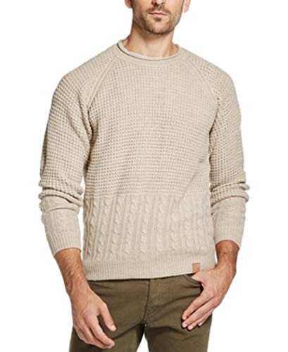 Weatherproof Mens Sweater Crewneck Cable-Knit Pullover Beige 2XL