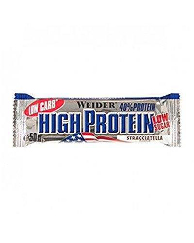 Weider 40% High Protein Low Carb Stracciatella Riegel – 50 Gramm (3.38 EUR/100g)