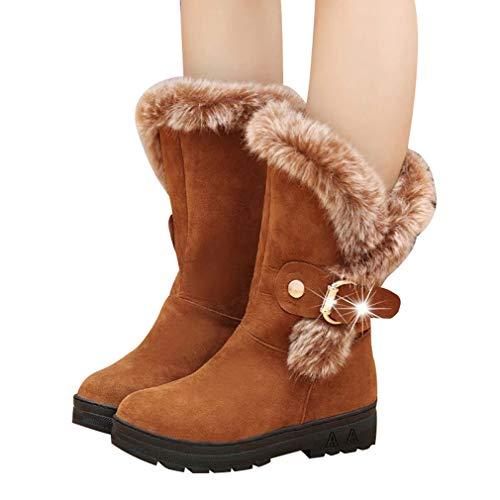 Meedot Damen Stiefeletten Schlupfstiefel Warm Gefüttert Schneeschuhe Wildleder Frauen Winterschuhe Halbschaft Stiefel Flach Outdoor Schuhe