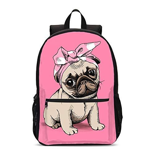 FeHuew Girls Cute Pug Dog Backpacks Shoulder Bag Casual Daypack for Grade Back to School