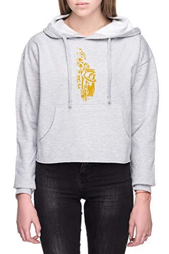 Saxofoon Keywork Dames Crop Capuchon Sweatshirt Grijs Women's Crop Hoodie Sweatshirt Grey