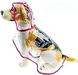 LEKO Chubasquero Perro mpermeable Ropa para Perros con Capucha extraíble Poncho Chaqueta de Lluvia Material de PU Chaquetas para Cachorros