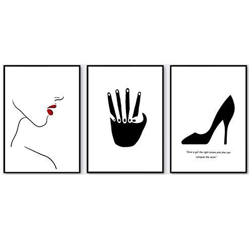 CHENSHU Arte de la Pared Lienzo Pintura Abstract Girl Posters and Prints Imágenes nórdicas de Pared para decoración de Sala de Estar 60x80cm (23.6x31.4 Pulgadas) Sin Marco Negro