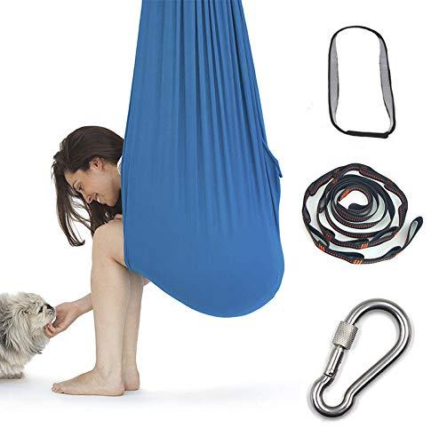 Onward NEW Aerial Yoga Hammock Set,Body Sock for sensory processing, Autism, ADHD, Premium Aerial Silk Yoga Swing for Antigravity Yoga, Inversion Exercises (Blue)