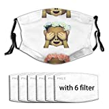 PFBSCU See No Evil Monkey Emoji Hipster Flower Crown Tumblr Unisex Adjustable Earloop Face Mouth Anti Pollution Repeat with 6 Filters