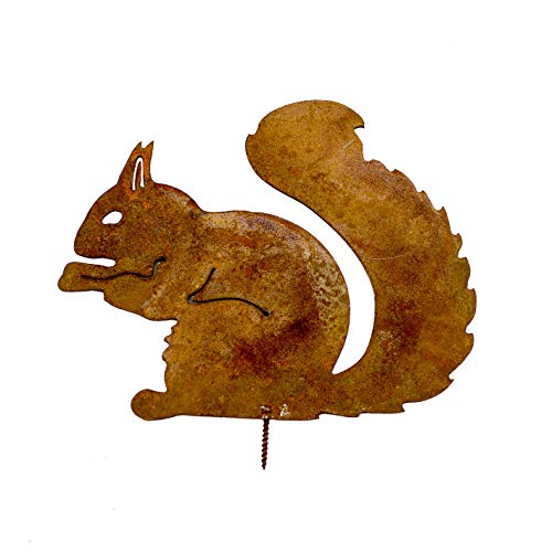 GK Eichhörnchen sitzend   Baumstecker Dekoration 21cm   Metall Rost Gartenstecker