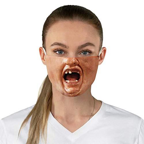 Zhousir Funny Face Covers, Human Face Printed, Reusable, Face Bandanas, Face Bandanas Women Adults, Washable Face Cover, Novelty Face Covering for Men Unisex, for Outdoor Cycling Ski Warm