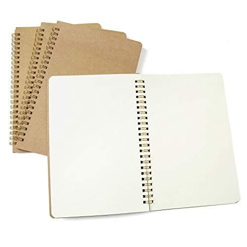 4 Piezas Bloc de Notas Espiral A5, Comius Sharp Cuaderno A5 Libretas, Cuadernos de Papel Kraft en Blanco, Diarios para Escolar, Notebook de Cubierta Kraft para Notas, Aprendizaje, Dibujo (Blanco)