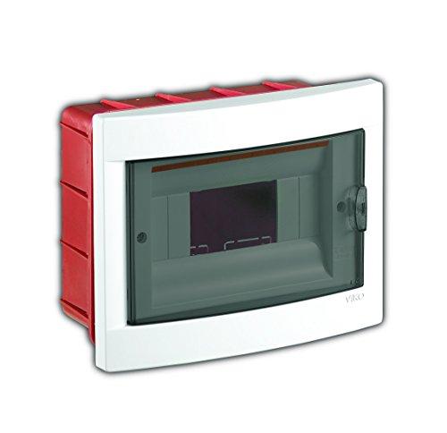 Unterputz Kleinverteiler 8 Module/Sicherungskasten / Verteilerkasten Unterputz IP40, 1-reihig mit Hutschiene + 1 stk. Klemme