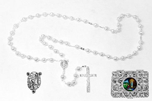 Rosario católico de plata con caja de regalo, de metal plateado – d