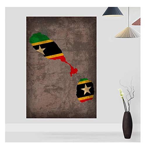 Feitao Mapa De La Bandera del País Póster De St Kitts Nevis Mapa De La Bandera Impresión En Lienzo Decoración del Hogar Lienzo Arte De La Pared para La Sala De Estar -20X30 Pulgadas Sin Marco