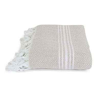 SALBAKOS Turkish Peshtemal Fouta Towel, 100% Organic Cotton, 40 x 70 Inch, Herringbone Linen