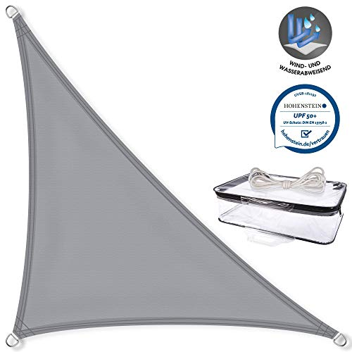 CelinaSun Sonnensegel Dreieck rechtwinklig 3 x 3 x 4,25 m hell grau UPF 50+ Sonnenschutz PES Schattenspender geprüft