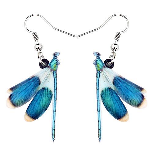 XAOQW Acrílico Azul libélula Insecto Pendientes Big Dangle Drop Joyas únicas para Las Mujeres niñas Damas Regalo Accesorios de Verano