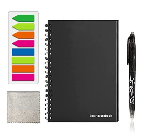 GUYUCOM Cuaderno Reutilizable A6, Cuaderno Inteligente, Cuaderno Digital con Bolígrafo Borrable y Limpie para el Almacenamiento Rápido de la Nube del Boceto y la Reutilización Infinitamente.