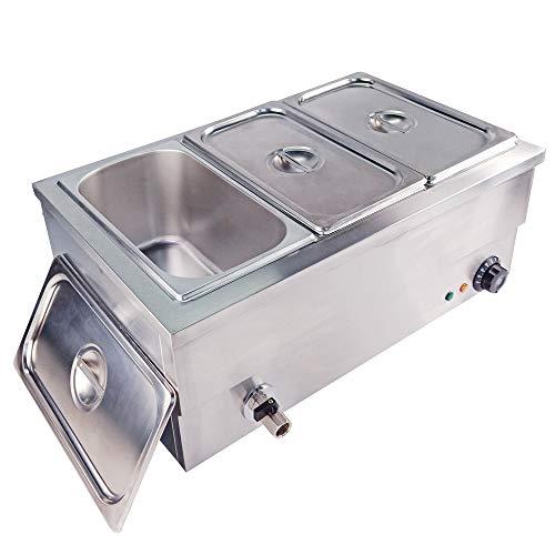 T-CAT Baño María 1/3 - max 110°C 220 Volt 1500 Watt Profundidad 15cm grifo de vaciado Control de Temperatura