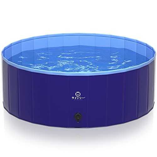 LINECY プール 大型 家庭用 子供 犬用プール ボールプール 空気入れ不要 折りたたみ 犬 プール 犬用 ペット用 プール 簡易 シャワー 庭 家 (XL:120*40cm, ブルー)