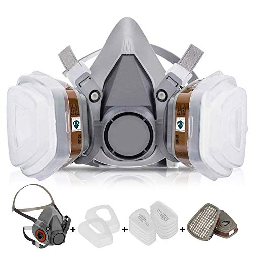 7 in 1 Reusable Half Face Respirator for 6200 Painting Spray with Filter Carbon Cartridge and Filter Cotton For Painting,Woodworking,Welding,Coal Mine Working,Chemical,Machine Polishing