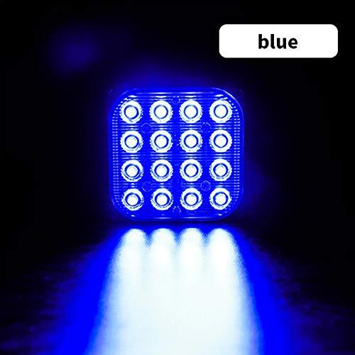huihuijia Luces de la Cola del Coche 48W 16-LED Lateral de luz estroboscópica de luz estroboscópica de Aluminio Blanco/Amarillo/Rojo/Azul DC 12V-24V para Coches SUV Vans Camiones