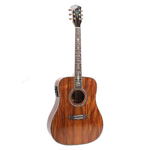 ZUWEI 41in Handmade Acoustic Guitar Life tree KOA TOP& Backside Real Abalone Inlay, Grover Tuner Lower Action Bone Nut& Saddle Free Hardcase Gloss Finish Gold Hardware
