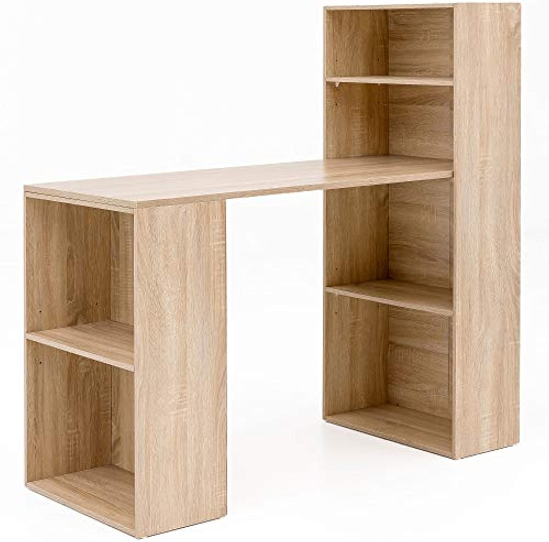 FineBuy Schreibtisch mit Regal 120x120x53 cm Sonoma Holz Modern  Schreibtischregal Ablagefcher PC Tisch  Computertisch mit Ablage  Design Tisch Büro mit Aufbewahrung