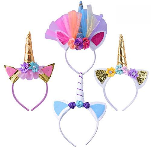 Geboor 4 Pack Unicornio Cuerno Diadema con Flores de Pelo Disfraz Decorativo Cosplay Party Accesorio